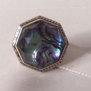 JUDITH JACK Sterling Silver/Abalone Ring #14